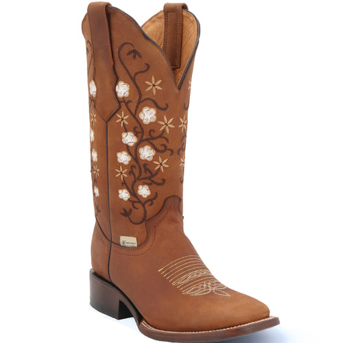 Abolengo Flowered Brown Square Toe Cowgirl Boots 🌸