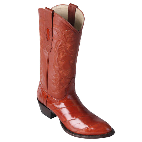 Los Altos Men's Cognac Eel Cowboy Boot R-Toe