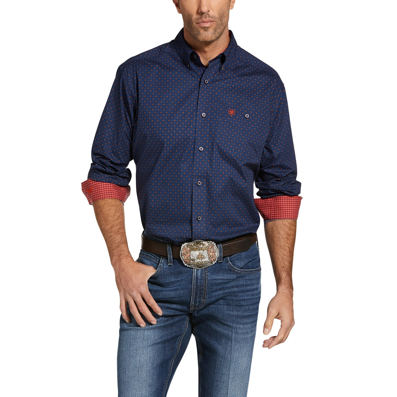 Men's Steady Stretch Button Down Western Shirt Patriot Blue
