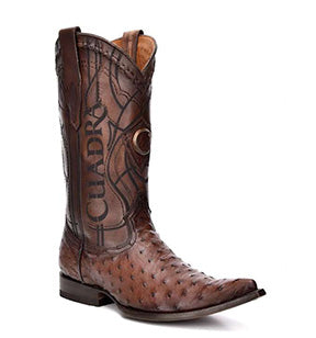 Cuadra Men's Ostrich Chihuahua Toe Pointed Cowboy Boots - Flame Brown