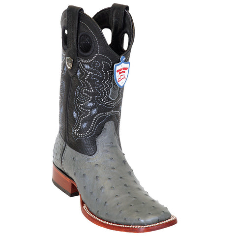 Wild West Gray Ostrich Wild Ranch Square Toe Boots - VaqueroBoots.com