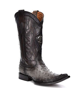 Cuadra Men's Ostrich Chihuahua Toe Pointed Cowboy Boots - Flame Grey