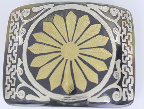Western Buckle With Flower Design