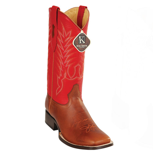 King Exotic Men's Grisly Honey Wide Square Toe Cowboy Boots - VaqueroBoots.com