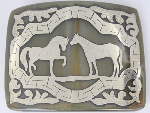 Western Buckle Two Horses Design