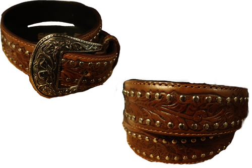Ladies Beaded Leather Belt by Stone Hats