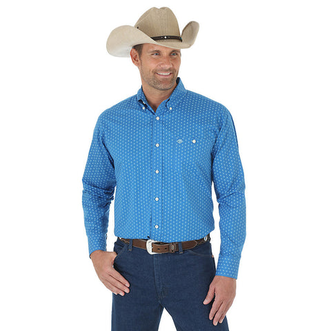 Men's Blue Plaid Long-Sleeved Western Shirt