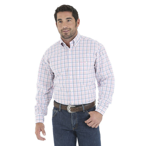 El General Men's Blue/White Paisley Print Long-Sleeve Shirt
