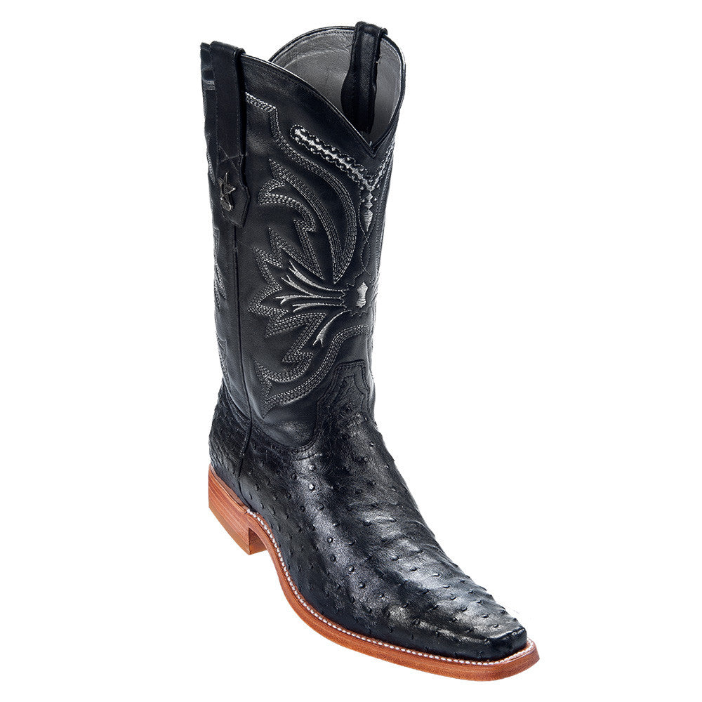 Los Altos Men's Ostrich Black Cowboy Boot European Toe - VaqueroBoots.com