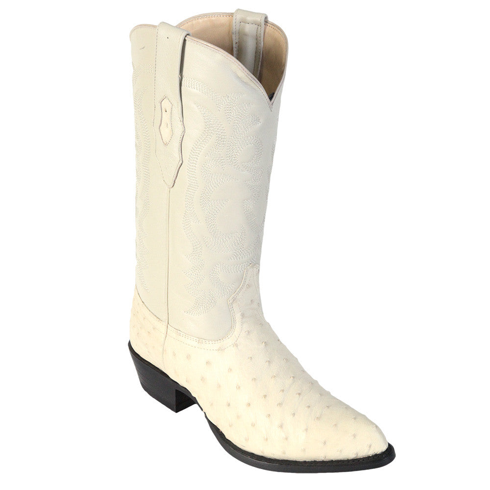 Los Altos Winter White Ostrich Cowboy Boot J Toe - VaqueroBoots.com