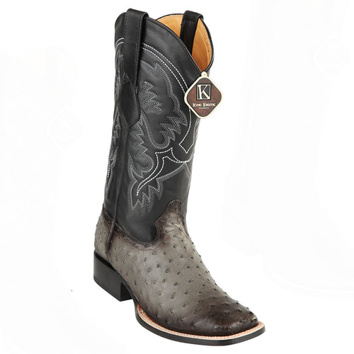 King Exotic Men's Ostrich Wide Square Toe Boots - VaqueroBoots.com - 1