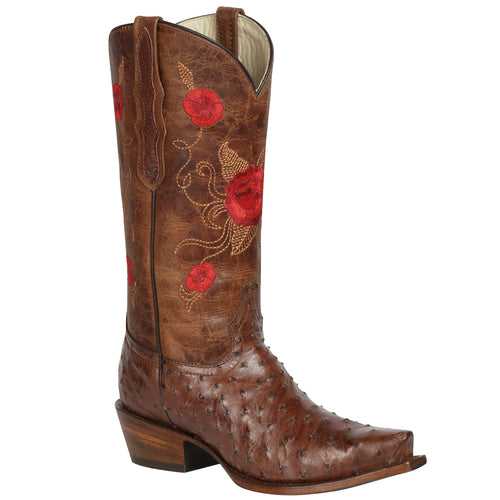 El General Ostrich Red Rose Snip Toe Cowgirl Boots