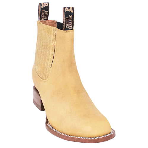 Potro Rebelde Honey Suede Charro Square Toe Boots