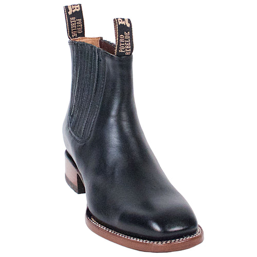 Potro Rebelde Black Charro Square Toe Boots