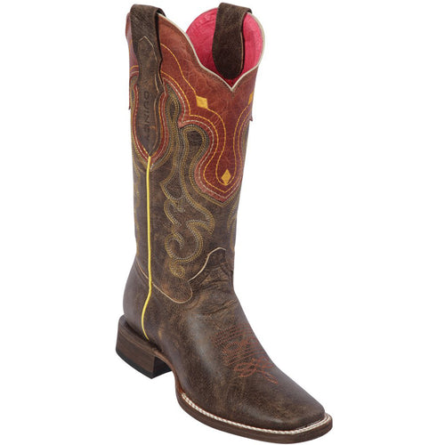 Quincy Flower Volcano Tobacco Cowgirl Boots