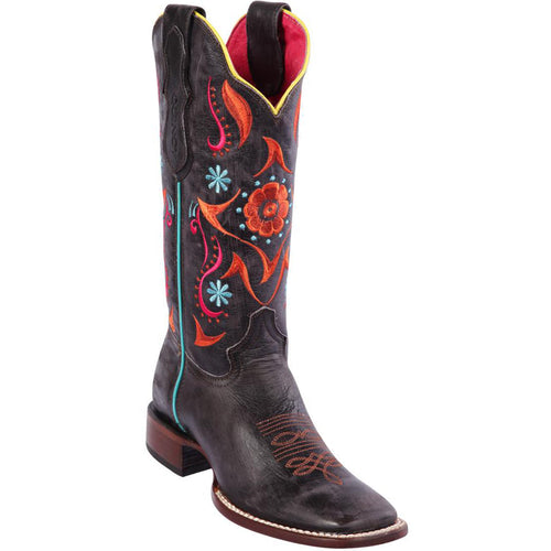 Quincy Flower Volcano Grey Cowgirl Boots