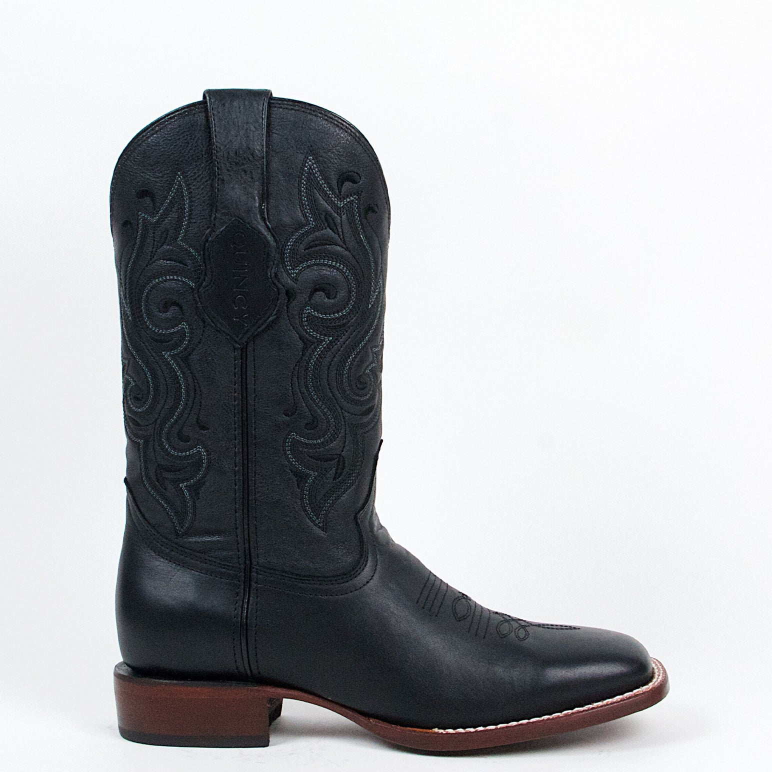 Quincy Black Square Toe Cowboy Boots