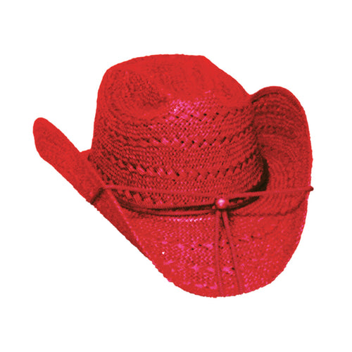 Red Cowgirl Straw Hat