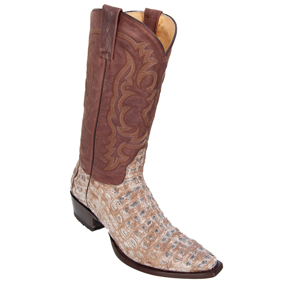 Los Altos Men's Rustic Mink Caiman Belly Snip Toe Boot - VaqueroBoots.com