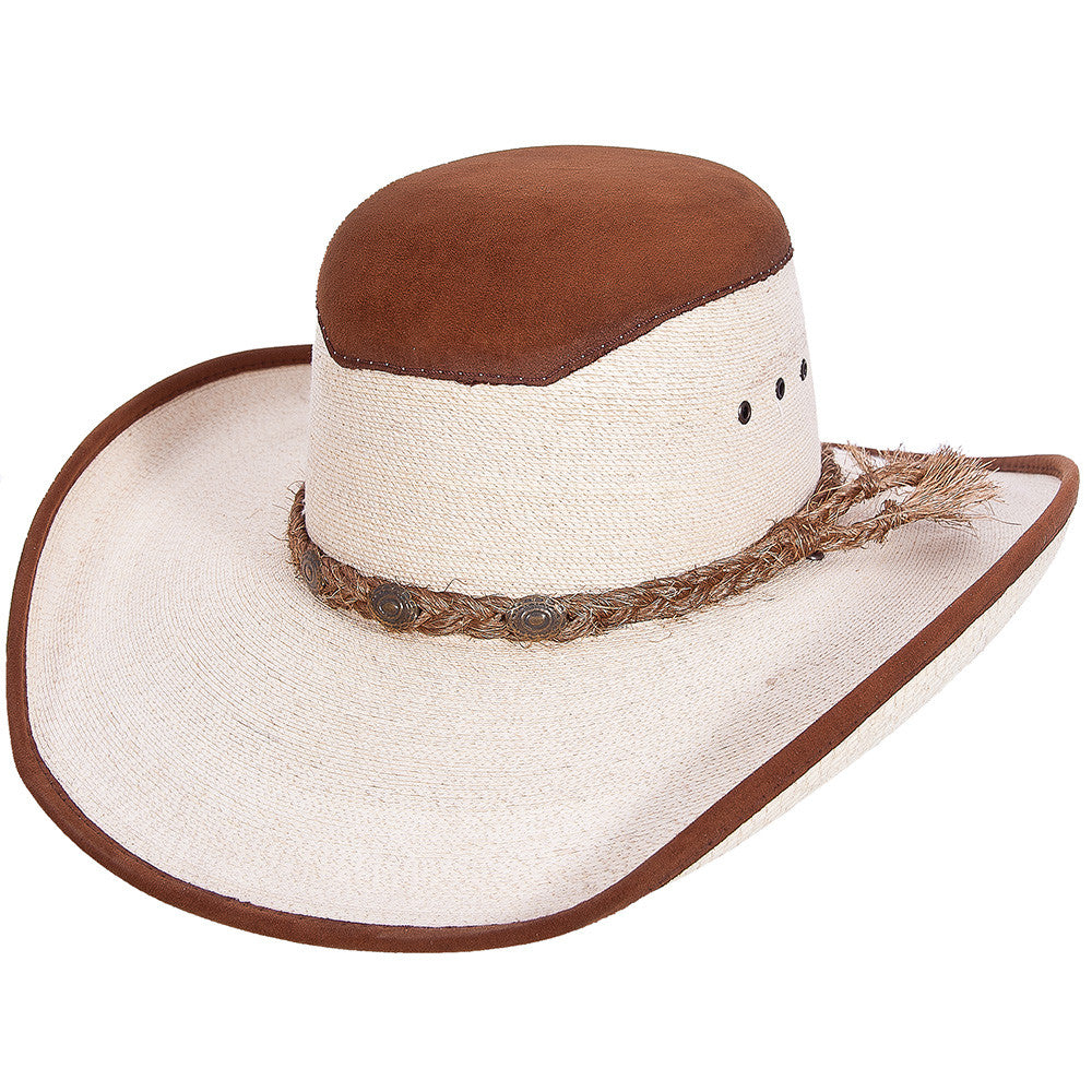Stone Open Crown Palm Cowboy Hat With leather - VaqueroBoots.com