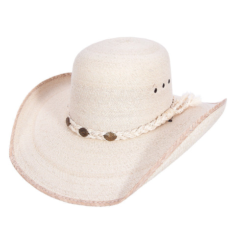 Sahuayo Open Crown Palm Leaf Cowboy Hat - VaqueroBoots.com - 1