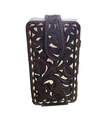 Nacona Leather Tooled Floral Cell Phone Case
