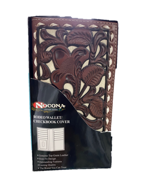 Nacona Floral Tooled Print Leather Checkbook Wallet