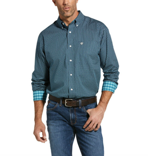 Men's Petrol Blue Wrinkle Free Lakehurst Button Shirt