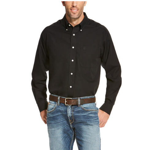 Ariat Men's Wrinkle Free Solid Long Sleeve Black Shirt