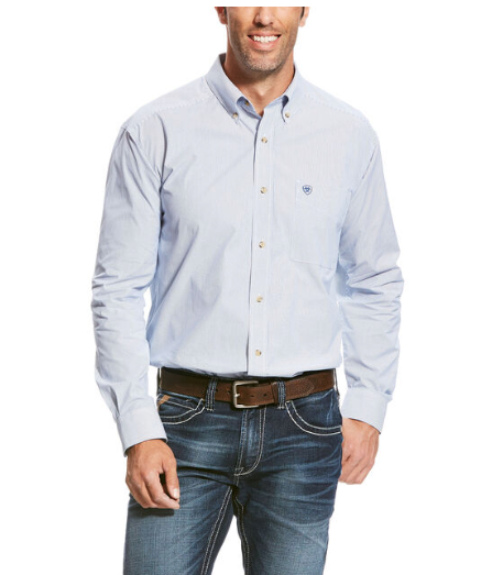 Ariat Men's Pro Series Dayne Mini Stripe Shirt - True Blue