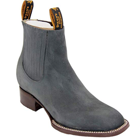 Diego's Grey Nubuck Square Toe Charro Boot