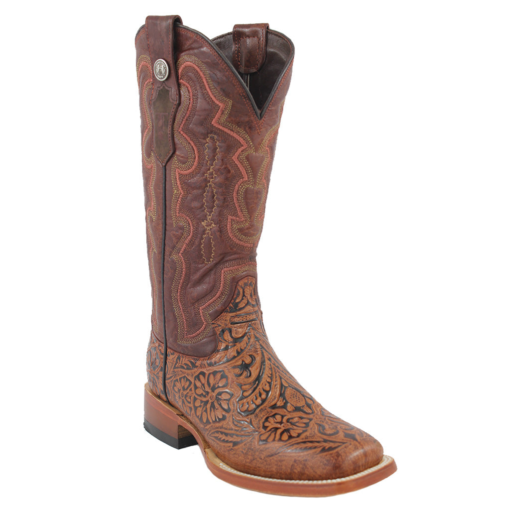 Tanner Mark Boots Tooled Print Square Toe Cowgirl Boots