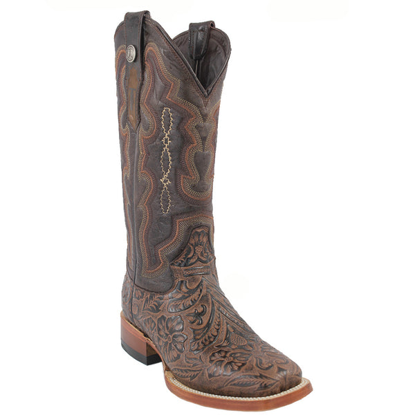 0b10f156816 Tanner Mark Boots Tooled Print Square Toe Cowgirl Boots