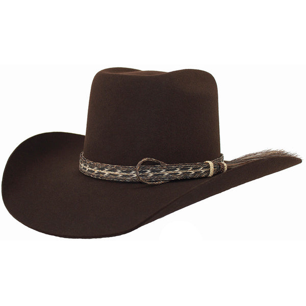 Cuernos Chuecos Chocolate 6X Brick Crown Felt Hat With Horsehair Band - VaqueroBoots.com