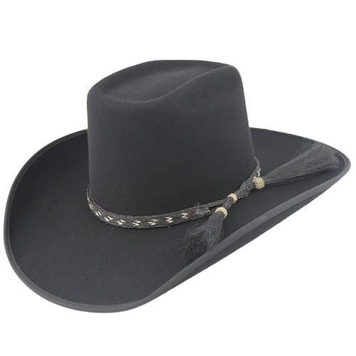 b1354ca42b Cuernos Chuecos Black 6X Brick Crown Felt Hat With Horsehair Band