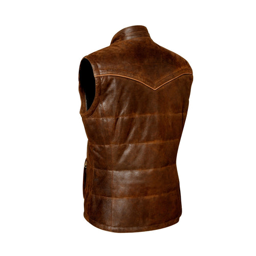 Cuadra Men's Lamb Leather Vest Brown - VaqueroBoots.com - 2