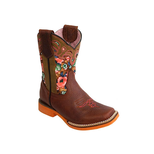 Kids Rodeo Flower Square Toe Cowgirl Boots