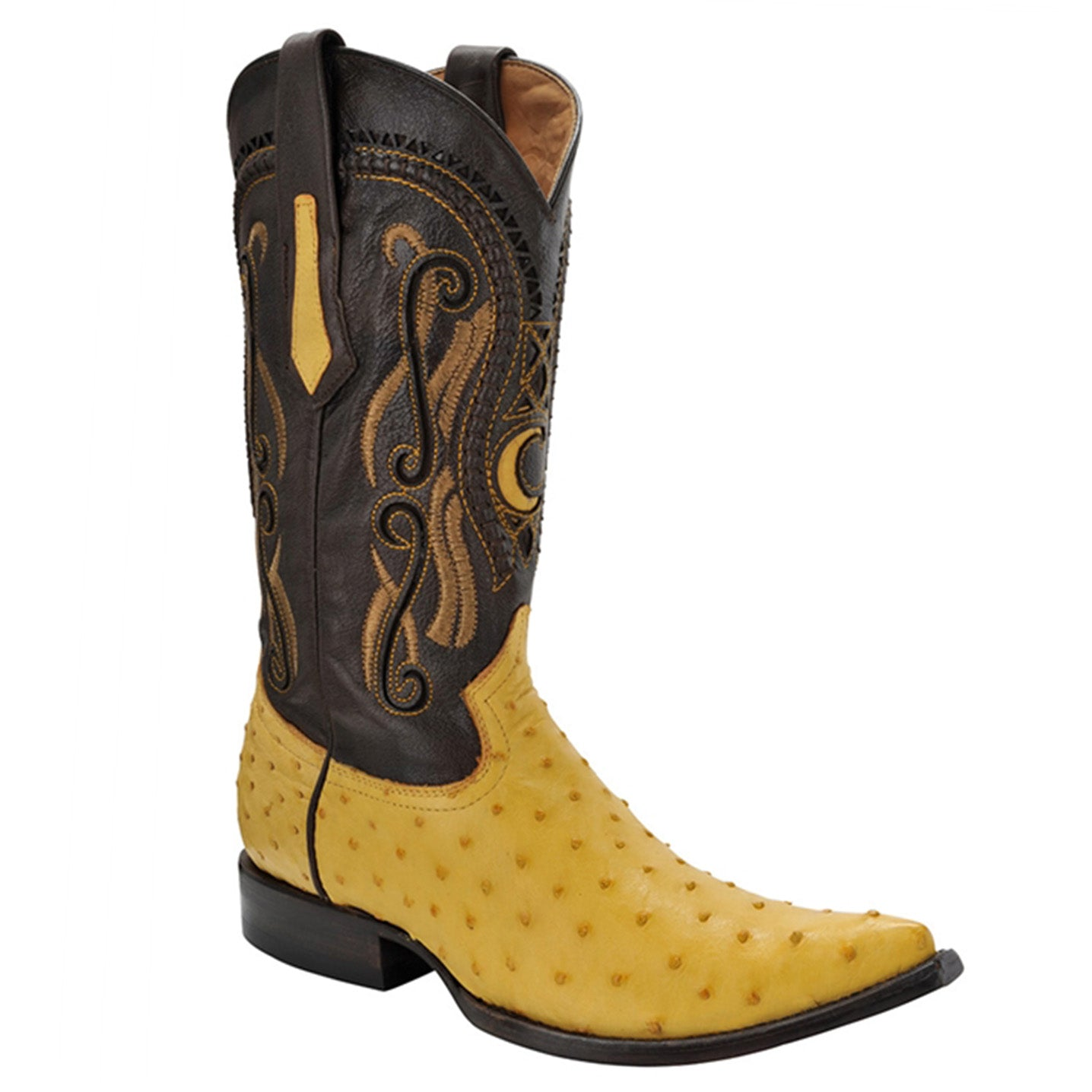 Cuadra Men's Ostrich Yellow Chihuahua Pointed Toe Boots