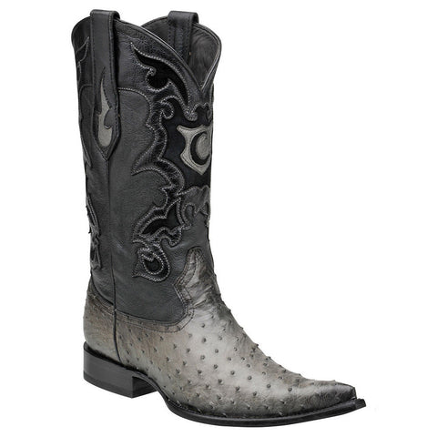 Cuadra Men's Ostrich Flame Gris Pointed Toe Boot - VaqueroBoots.com