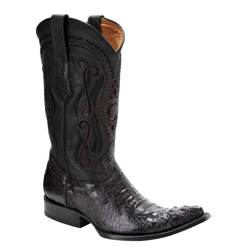 Cuadra Men's Crocodile Horn Back Black Cherry Pointed Toe Boots - VaqueroBoots.com