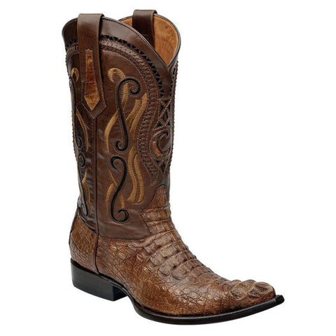 Cuadra Men's Crocodile Horn Back Nogal Pointed Toe Boots - VaqueroBoots.com