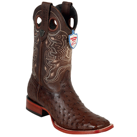 Wild West Brown Ostrich Wild Ranch Square Toe Boots - VaqueroBoots.com