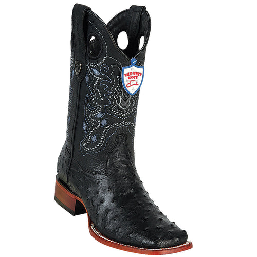 Wild West Black Ostrich Wild Ranch Square Toe Boots - VaqueroBoots.com