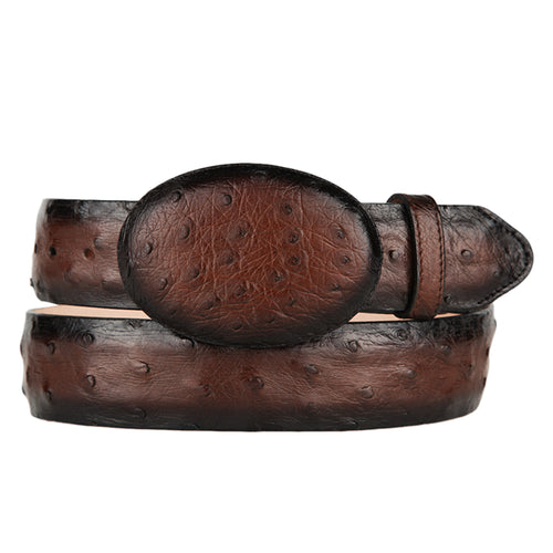 Los Altos Men's Faded Brown Ostrich Cowboy Belt