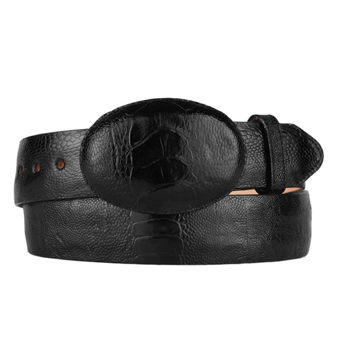 Men's Black Ostrich Leg Cowboy Belt