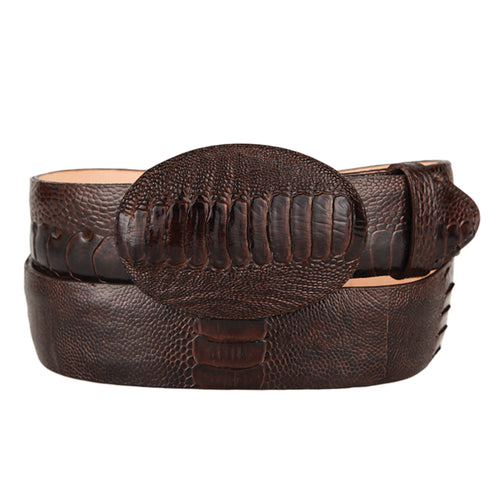 Brown Ostrich Leg Cowboy Belt