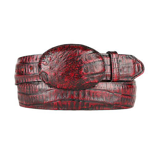 Black Cherry Caiman Belly Cowboy Belt