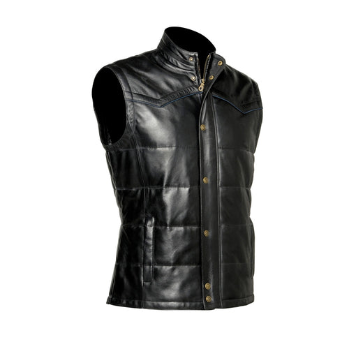 Cuadra Men's Lamb Leather Vest Black - VaqueroBoots.com