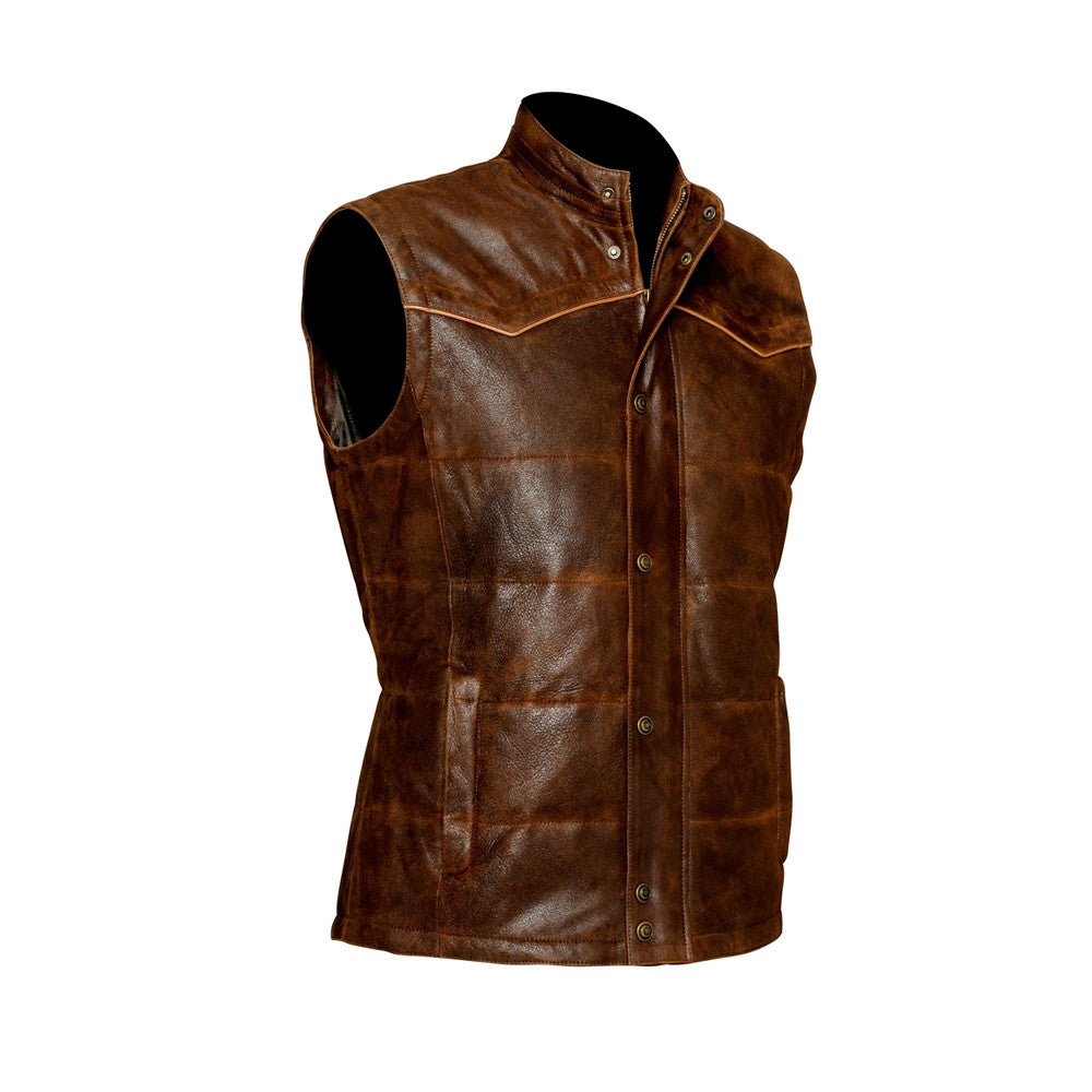Cuadra Men's Lamb Leather Vest Brown - VaqueroBoots.com - 1