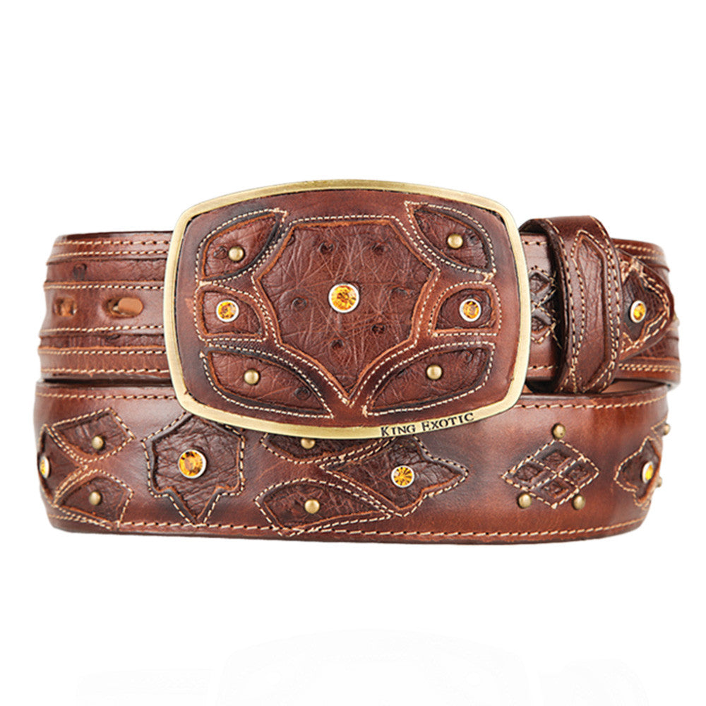 Men's Western Fashion Ostrich Belts - VaqueroBoots.com - 4